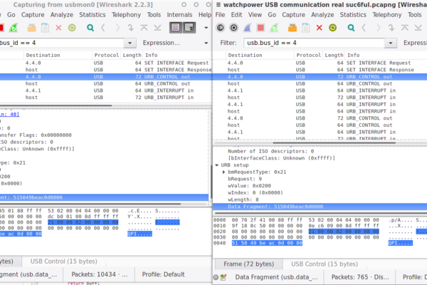 Wireshark USB monitoring data